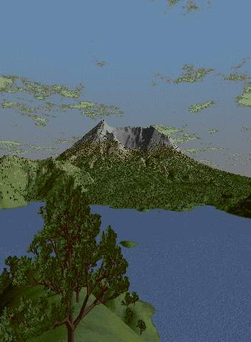 3D rendering of Mt St Helens in abstract lighting